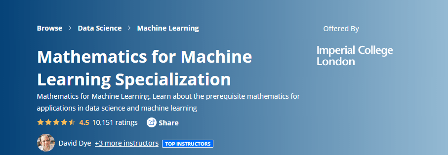 Mathematics for machine learning course from Coursera